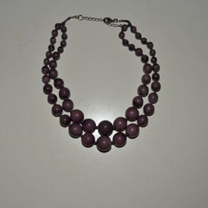Vintage Double Strand Purple Beaded Wood Necklace